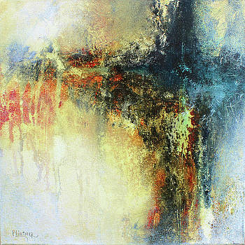Patricia Lintner - Teals and Warm Tones Abstract Painting