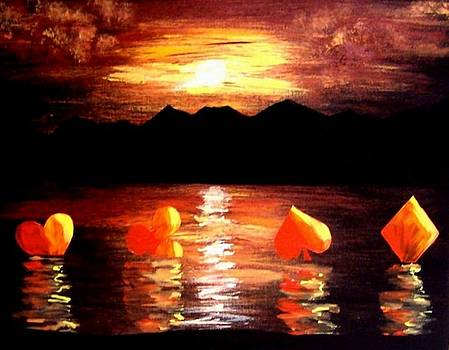 Abstract Arts Floating Suits Poker Art decor by Teo Alfonso