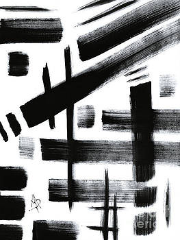 Abstract Black and White Original Unique Painting Black-White IV by MADART by Megan Duncanson