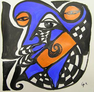 Abstract Blue And Orange Face by Jimmy King