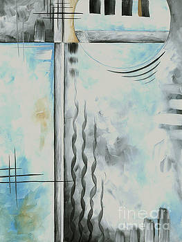Abstract Blue Gray Yellow Original Painting Contemporary Fine Art Print by MADART by Megan Duncanson