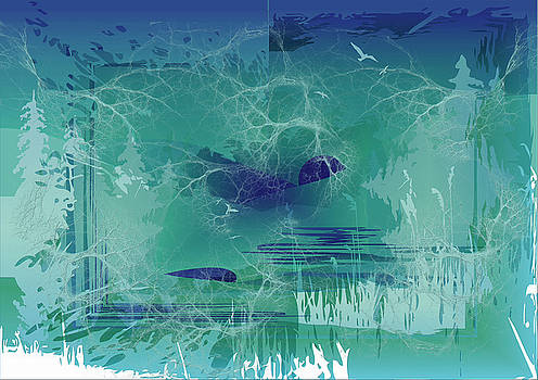 Abstract Blue Green by Robert G Kernodle