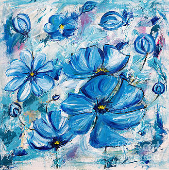 Abstract Blue Poppies by Art by Danielle