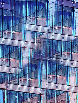 Abstract Blue Skyscraper by Judi Saunders