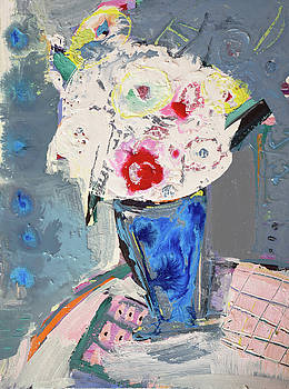 Abstract blue vase of white bouquet of flowers by Amara Dacer