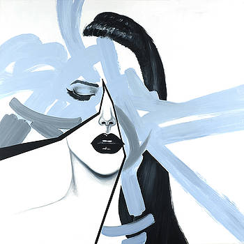 Abstract Blue Woman Portrait by Atelier B Art Studio