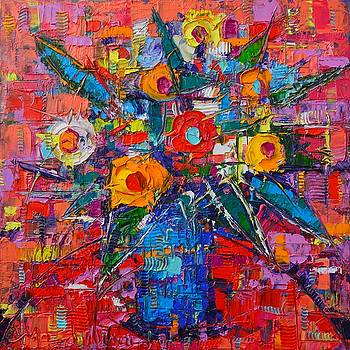 ANA MARIA EDULESCU - ABSTRACT BOUQUET OF HAPPINESS MODERN IMPRESSIONIST PALETTE KNIFE OIL PAINTING BY ANA MARIA EDULESCU