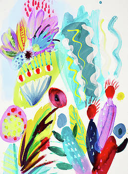 Abstract cactus and flowers by Amara Dacer