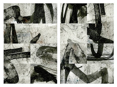 Carol Leigh - Abstract Calligraphy Collage Diptych