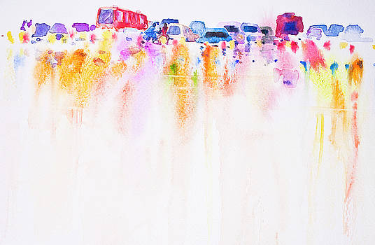 Abstract car on the road watercolor hand painted background by Nutdanai Apikhomboonwaroot