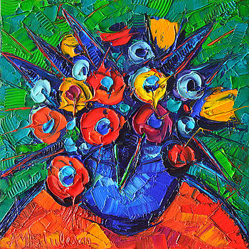 ANA MARIA EDULESCU - ABSTRACT COLORFUL FLOWERS 77 MODERN IMPRESSIONISM PALETTE KNIFE OIL PAINTING BY ANA MARIA EDULESCU