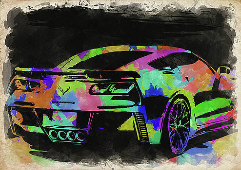 Ricky Barnard - Abstract Corvette Watercolor II