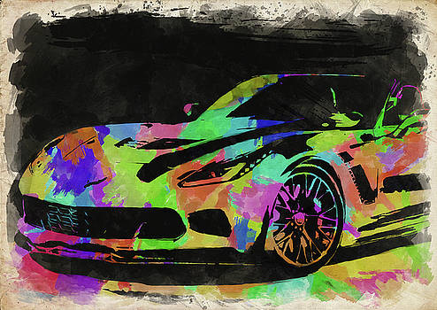 Ricky Barnard - Abstract Corvette Watercolor III