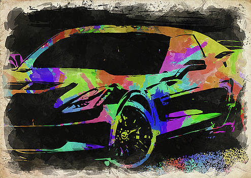 Ricky Barnard - Abstract Corvette Watercolor IV