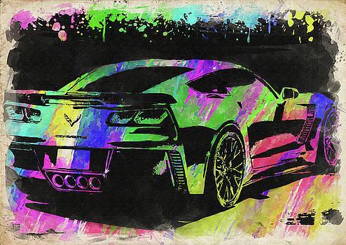 Ricky Barnard - Abstract Corvette Watercolor IX