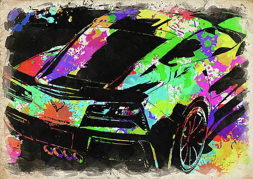 Ricky Barnard - Abstract Corvette Watercolor V