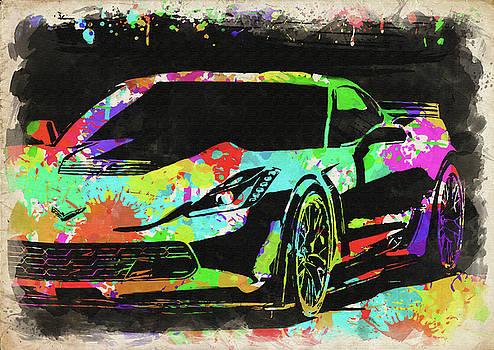 Ricky Barnard - Abstract Corvette Watercolor VI