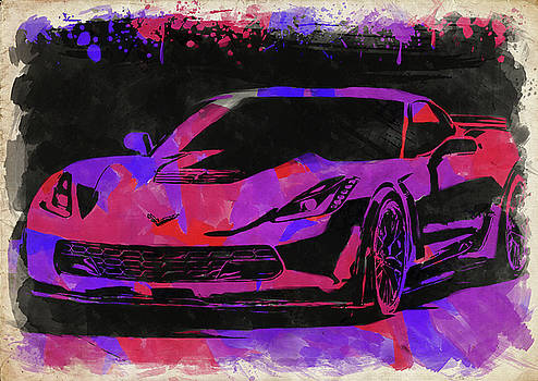 Ricky Barnard - Abstract Corvette Watercolor X