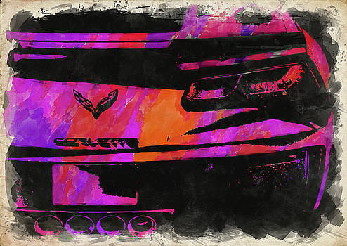 Ricky Barnard - Abstract Corvette Watercolor XII