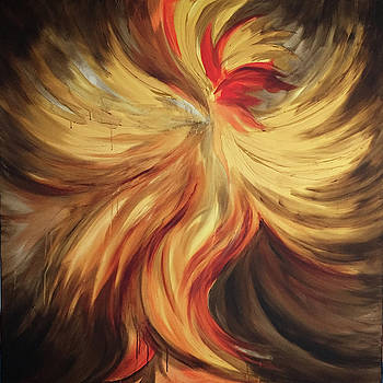 Abstract Fire Rooster by Michelle Pier