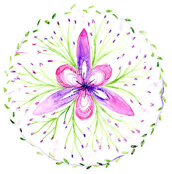Abstract Floral Botanical Mandala by Louise Gale
