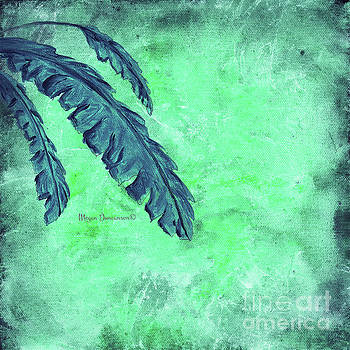 Abstract Floral Fauna Banana Leaf Tropical Aqua Splash Abstract Art by Megan Duncanson  by Megan Duncanson