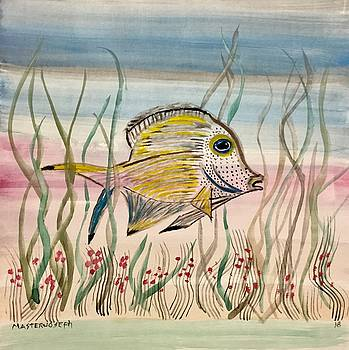 Abstract Flower Garden With Fish - 3 by Anthony Masterjoseph