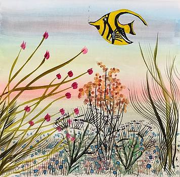 Abstract Flower Garden With Fish by Anthony Masterjoseph