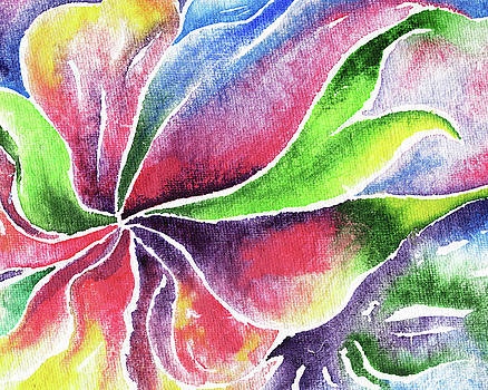 Abstract Flower Lily And Orchid Watercolor  by Irina Sztukowski