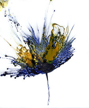Abstract Flower Navy Blue Yellow 1 by Catherine Jeltes