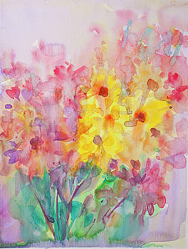 Abstract flower with Water Color by Nutdanai Apikhomboonwaroot