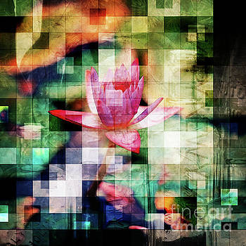 Abstract Flowers And Glass Mosaic by Phil Perkins