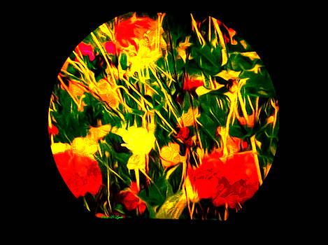 Abstract Flowers In Globe by Debra Lynch