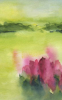 Abstract Flowers In Landscape by Frank Bright