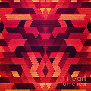Abstract  geometric triangle texture pattern design in diabolic future red by Philipp Rietz