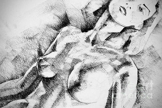 Abstract Girl Portrait Drawing by Dimitar Hristov