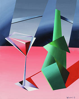 Abstract Glass of Wine with Bottle by Mark Webster