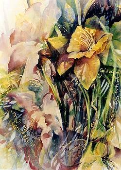 Abstract Golden Daffodils by Estelle Hartley