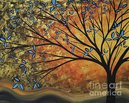 Abstract Golden Landscape Art Original Painting Peaceful Awakening II Diptych Set by Megan Duncanson by Megan Duncanson