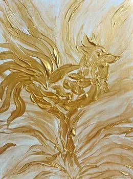 Abstract Golden Rooster by Michelle Pier