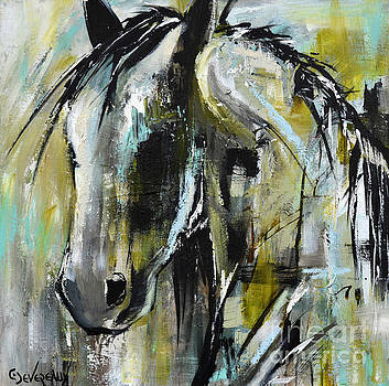 Abstract Green Horse by Cher Devereaux