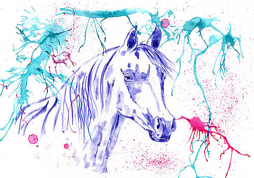 Michelle Wrighton - Abstract Ink - Purple Arabian Horse