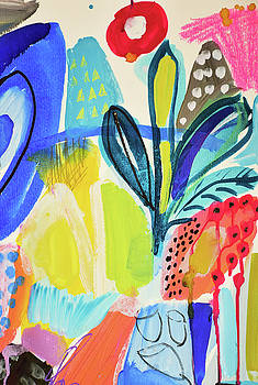 Abstract jungle and wild flowers by Amara Dacer