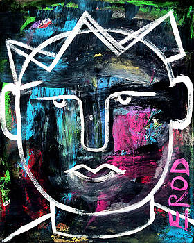 Abstract KING - Original Robert Erod ART by Robert R Splashy Art Abstract Paintings