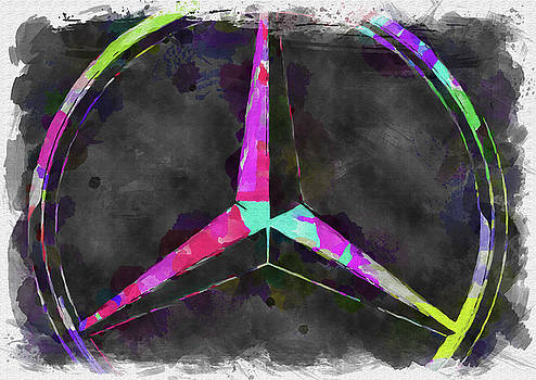 Ricky Barnard - Abstract Mercedes Benz Logo Watercolor