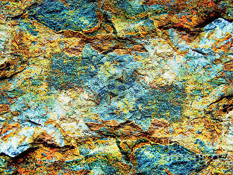 Abstract Nature Tropical Beach Rock Blue Yellow and Orange Macro Photo 472 by Ricardos Creations