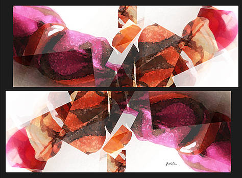 Abstract Orange Cherry Plum Butterfly by Gretchen Wrede