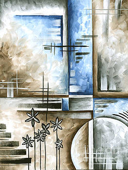 Abstract Original Art Contemporary Blue and Gray Painting by Megan Duncanson Blue Destiny II MADART by Megan Duncanson