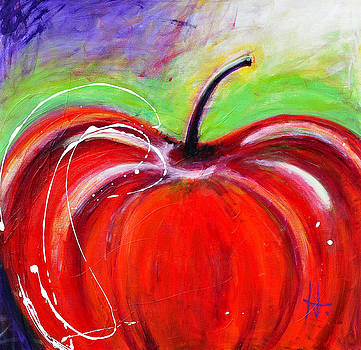 Abstract Painting of a Red Apple by Johane Amirault