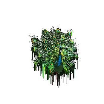 Abstract Peacock Acrylic Digital Painting by Georgeta Blanaru